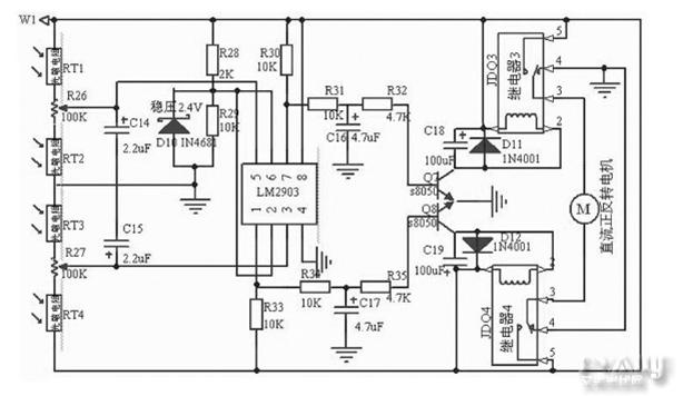 图4 自动跟踪控制器   充电管理电路设计   锂电池的充电过程一般分为3个阶段: 涓流充电阶段。 恒流充电阶段。 一般可以充电到电池容量的85%左右。 恒压充电阶段。锂电池过充,轻则减少电池寿命,性能变坏,重则产生漏液等。在本文的设计中,采用了线性充电管理芯片MCP73831,如图1所示。 该芯片具有输出电压准确,任意设定充电电流,自动转换充电模式,消耗电流极小(25uA ) ,过充监测保护等功能和特点。 MCP73831各管脚的功能:   VDD 为输入电压端; VSS 为参考零电压端; VBA