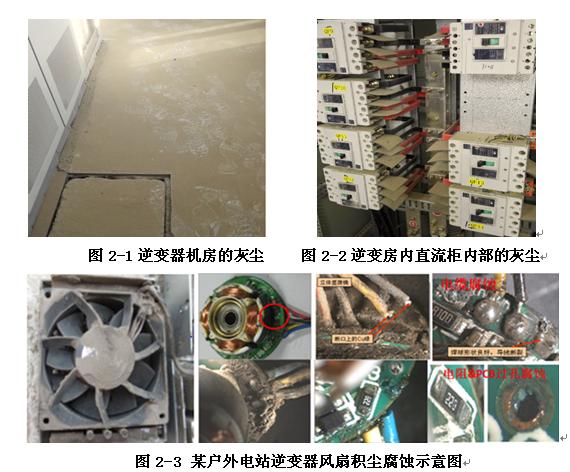 如灰尘在逆变器内电路板,端子排等的累积会造成爬电距离减小,最终造成