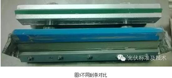 在AYSY机台进行印刷和测试的规模化生产,有不同目数膜厚线径的网版供选择实验,刮条分条形刮条和板刮供实验,印刷参数可根据需要调节。丝网印刷的原理是通过刮条挤压特定图形的丝网弹性形变后将浆料渗透在需要印刷的材料上的一种印刷方式。常见的正极图形由主栅线和副栅线组成,栅线的主要作用是收集电流,虚印、断栅区域的电流没有被收集到,电池的效率会降低,在EL测试时则更能准确地体现。外观断栅、虚印的主要表现是栅线印迹中断或模糊,如图1和2,而丝网参数设置不正确,网版线宽与浆料不匹配,网版堵塞,刮条磨损,浆料粘度过高或