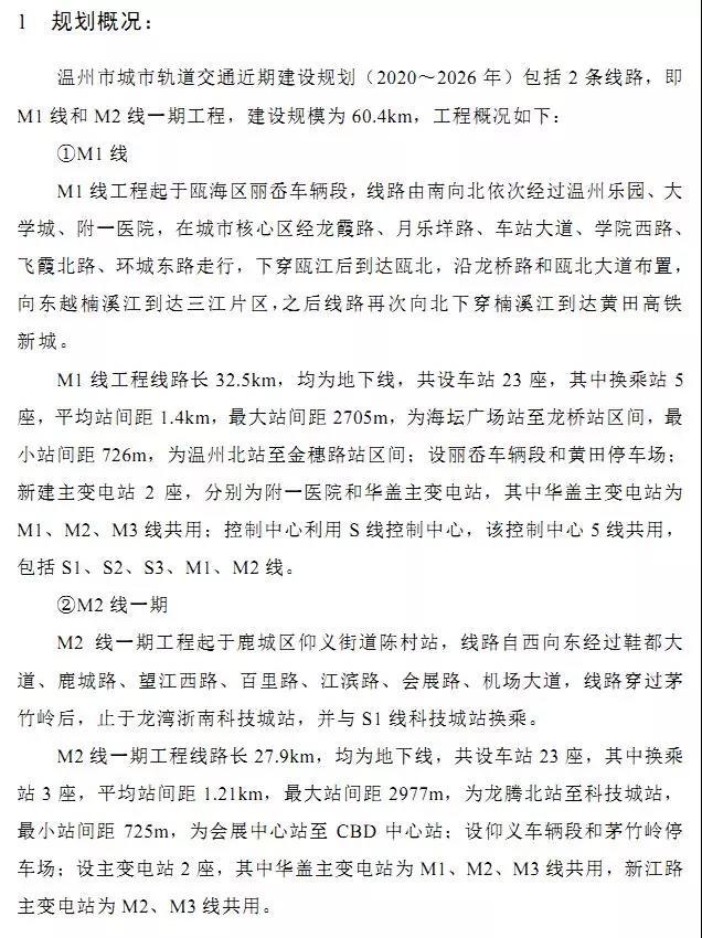 温州轨道交通近期建设规划(2020~2026年)环评公示