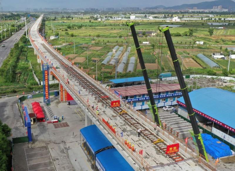 温州市域铁路S2线一期工程开始铺轨